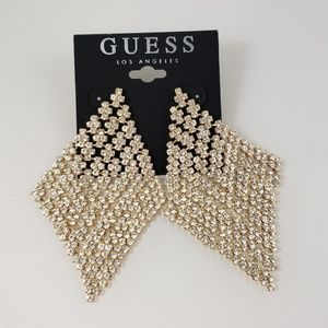 Guess Gold Crystal Large Earrings